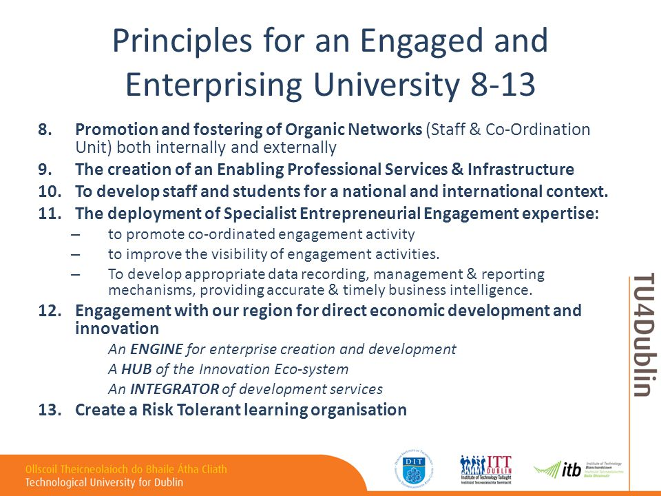 Principles for an Engaged and Enterprising University 8-13 8.Promotion and fostering of Organic Networks (Staff & Co-Ordination Unit) both internally and externally 9.The creation of an Enabling Professional Services & Infrastructure 10.To develop staff and students for a national and international context.
