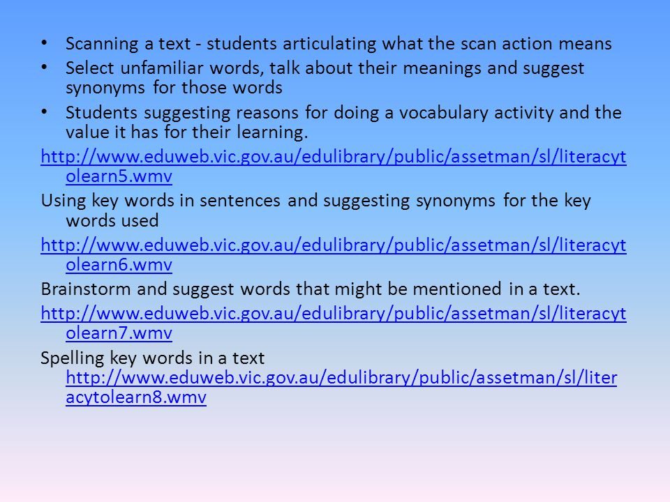 Scanning a text - students articulating what the scan action means Select unfamiliar words, talk about their meanings and suggest synonyms for those w