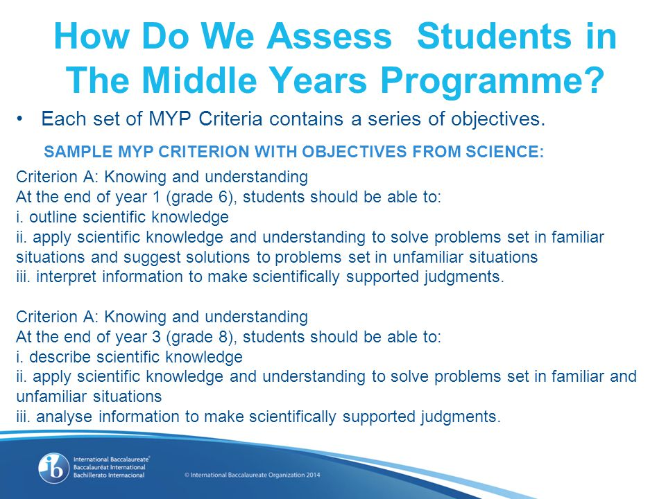 Each set of MYP Criteria contains a series of objectives.