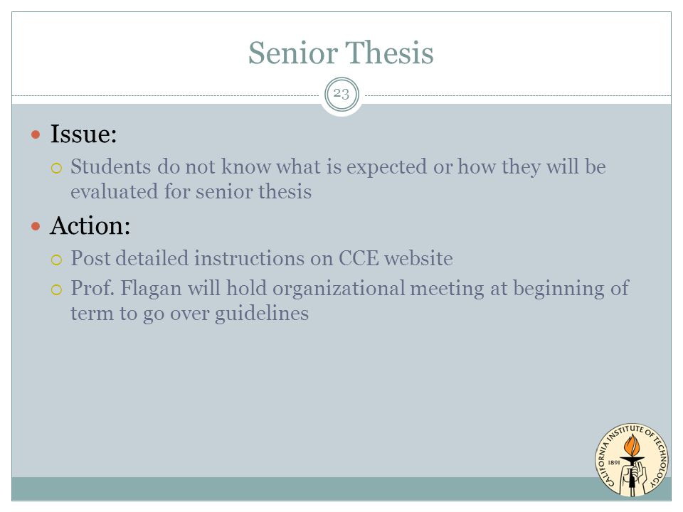 Senior Thesis Issue:  Students do not know what is expected or how they will be evaluated for senior thesis Action:  Post detailed instructions on CCE website  Prof.