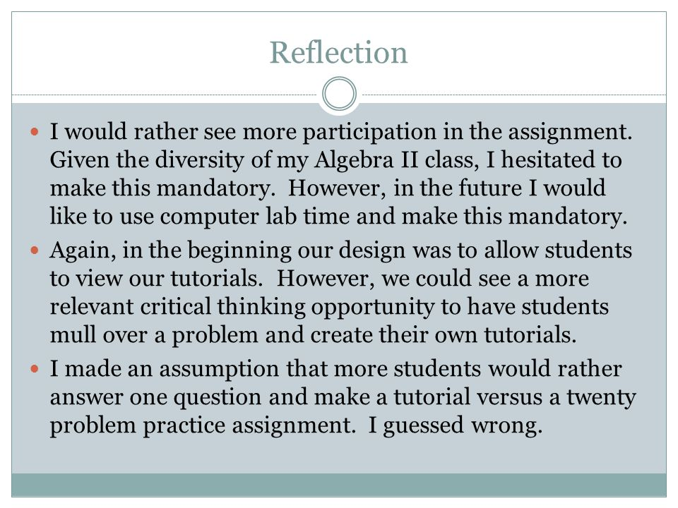Reflection I would rather see more participation in the assignment. Given the diversity of my Algebra II class, I hesitated to make this mandatory. Ho