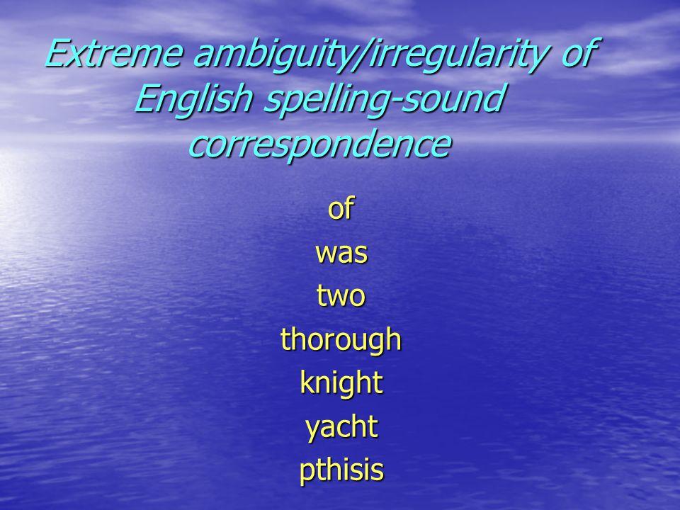 ofwastwothoroughknightyachtpthisis Extreme ambiguity/irregularity of English spelling-sound correspondence