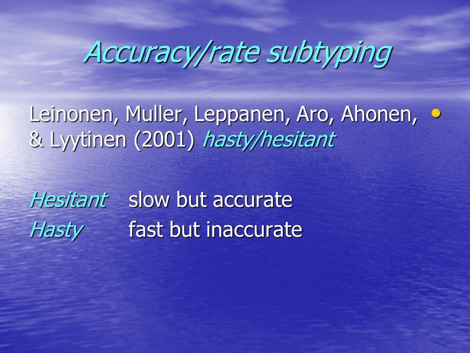 Accuracy/rate subtyping Leinonen, Muller, Leppanen, Aro, Ahonen, & Lyytinen (2001) hasty/hesitant Leinonen, Muller, Leppanen, Aro, Ahonen, & Lyytinen