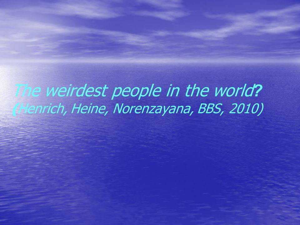 The weirdest people in the world? (Henrich, Heine, Norenzayana, BBS, 2010)