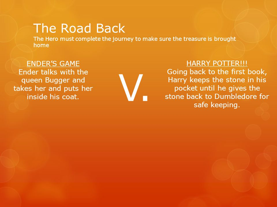 The Road Back The Hero must complete the journey to make sure the treasure is brought home HARRY POTTER!!! Going back to the first book, Harry keeps t