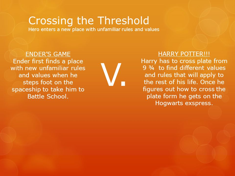 Crossing the Threshold Hero enters a new place with unfamiliar rules and values HARRY POTTER!!.