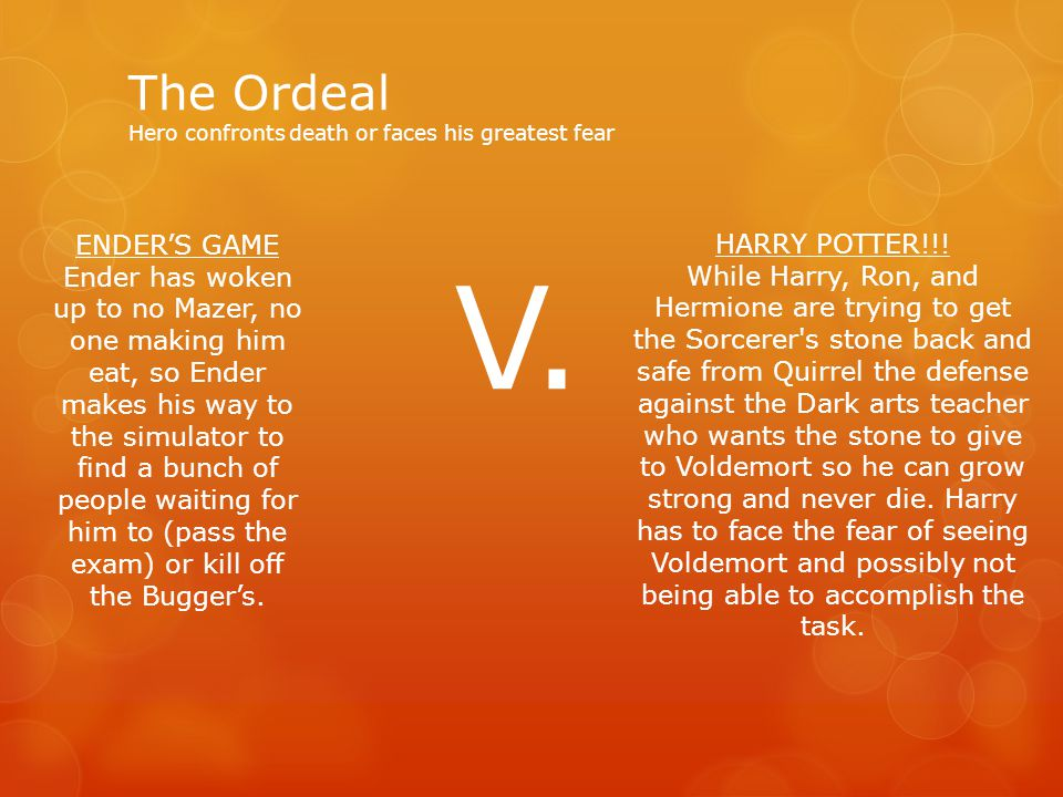 The Ordeal Hero confronts death or faces his greatest fear HARRY POTTER!!.