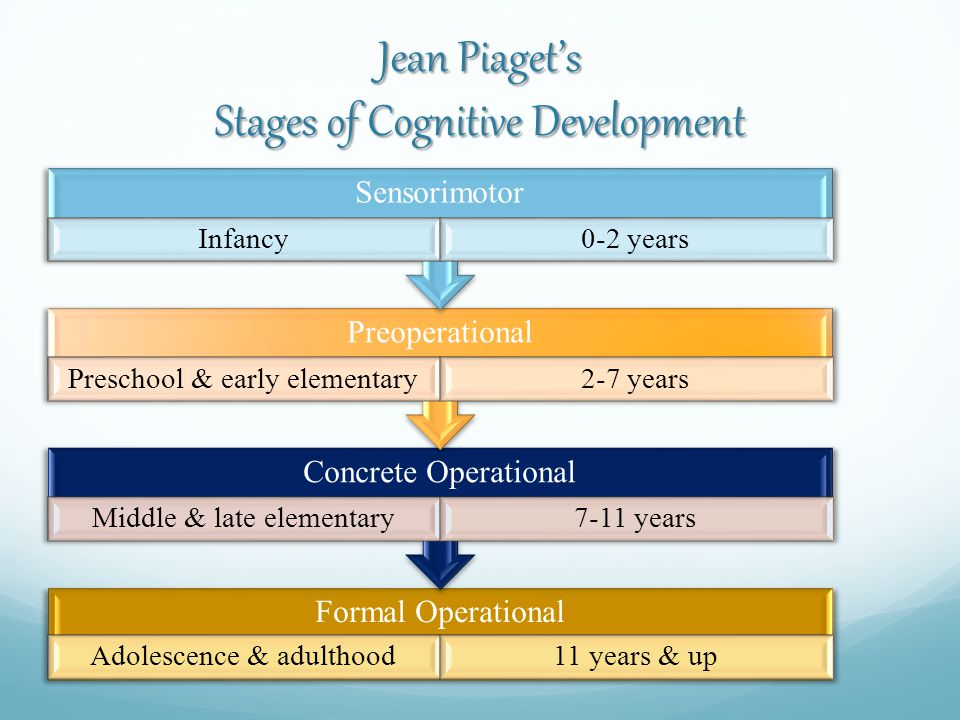 Jean Piaget's Stages of Cognitive Development Formal Operational Adolescence & adulthood11 years & up Concrete Operational Middle & late elementary7-11 years Preoperational Preschool & early elementary2-7 years Sensorimotor Infancy0-2 years
