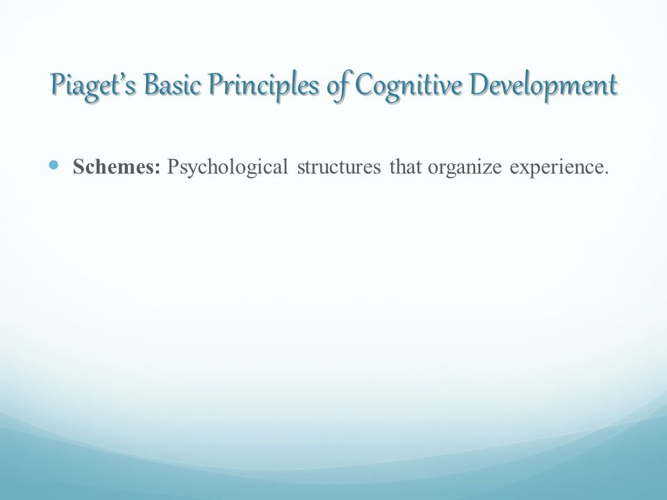 Piaget's Basic Principles of Cognitive Development Schemes: Psychological structures that organize experience.