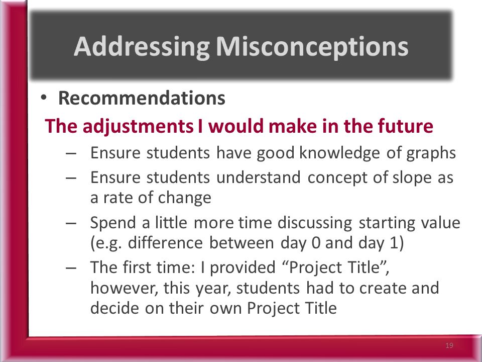 Recommendations The adjustments I would make in the future – Ensure students have good knowledge of graphs – Ensure students understand concept of slope as a rate of change – Spend a little more time discussing starting value (e.g.