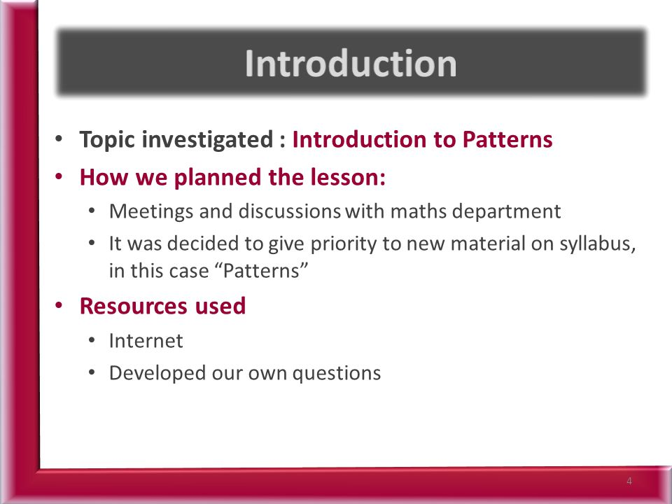 Learning Outcomes – use tables to represent a repeating-pattern situation – generalise and explain patterns and relationships in words and numbers – write arithmetic expressions for particular terms in a sequence – use tables, diagrams and graphs as tools for representing and analysing patterns and relations – develop and use their own generalising strategies and ideas and consider those of others – present and interpret solutions, explaining and justifying methods, inferences and reasoning – find the underlying formula written in words from which the data is derived (linear relations only) 5