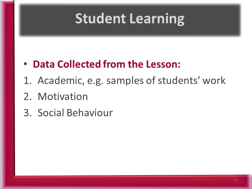 The understandings we gained regarding students' learning Patterns as a result of being involved in the research lesson Students need to be introduced to this topic slowly at the start; once they understand the basic concepts they are able to link all sections of the topic together.