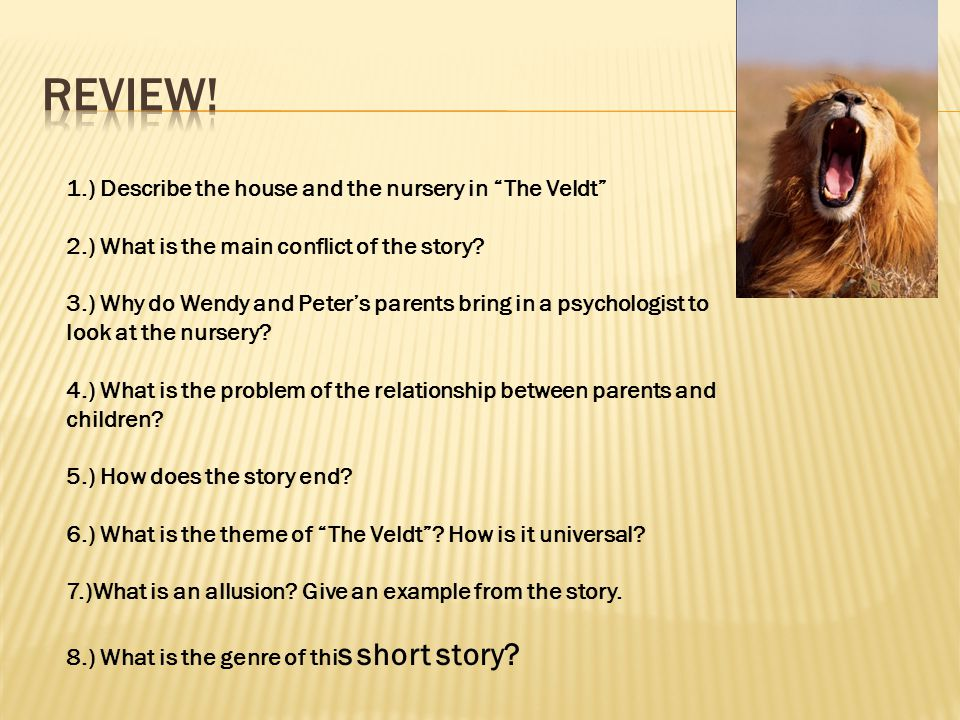 1.) Describe the house and the nursery in The Veldt 2.) What is the main conflict of the story.