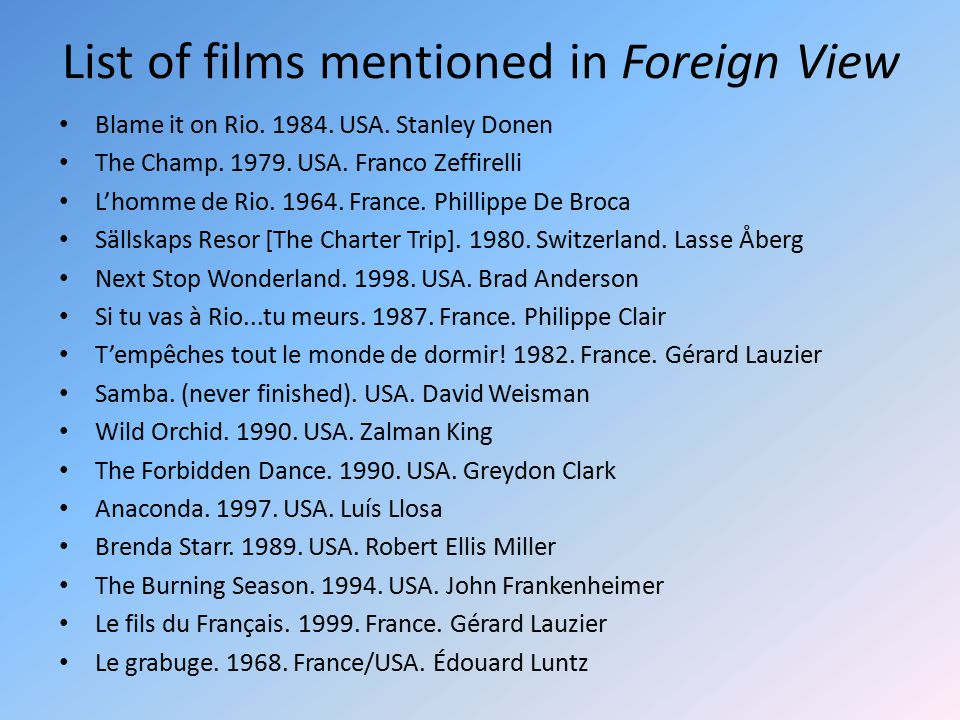List of films mentioned in Foreign View Blame it on Rio.