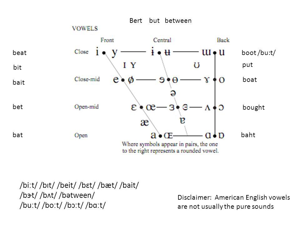 beatboot /bu:t/ bat bet bait boat bought baht Bert but between /biːt/ /bɪt/ /beit/ /bɛt/ /bæt/ /bait/ /bɝt/ /bʌt/ /bətween/ /buːt/ /boːt/ /bɔːt/ /bɑːt