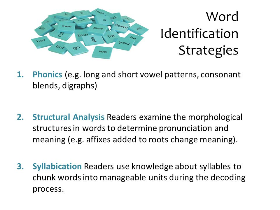 Word Identification Strategies 1.Phonics (e.g. long and short vowel patterns, consonant blends, digraphs) 2.Structural Analysis Readers examine the mo