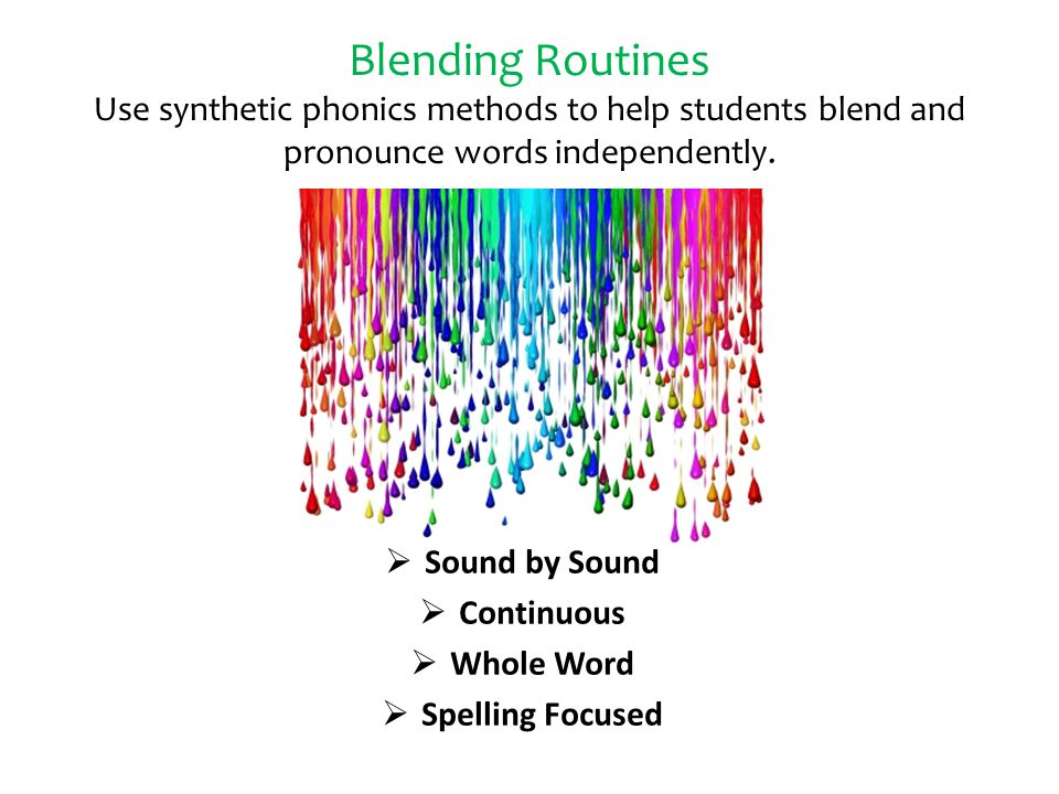 Blending Routines Use synthetic phonics methods to help students blend and pronounce words independently.  Sound by Sound  Continuous  Whole Word 