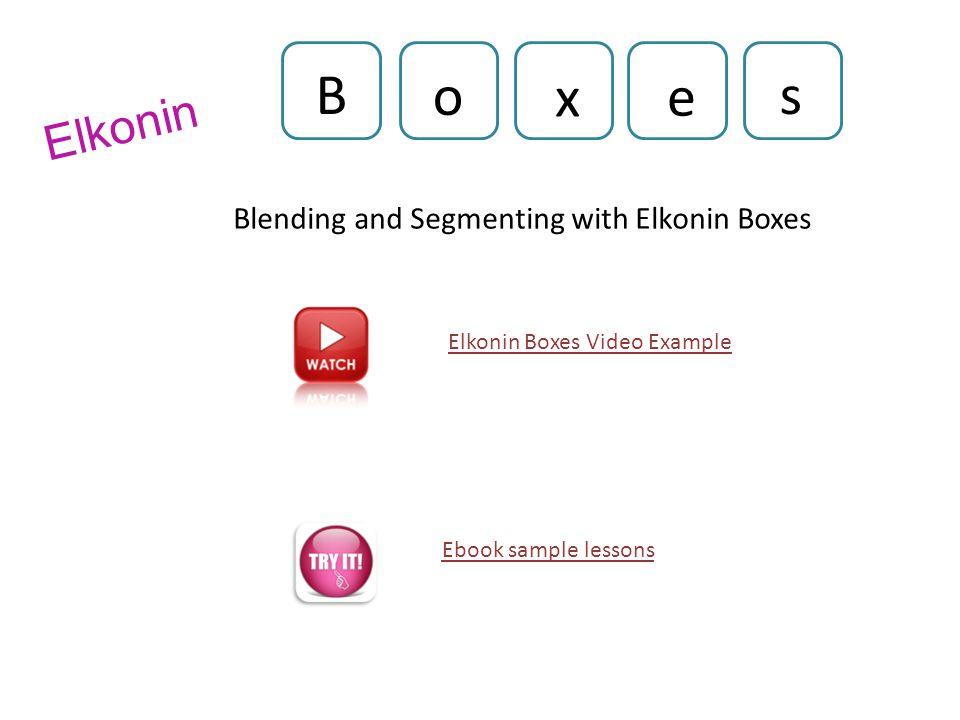 Elkonin Blending and Segmenting with Elkonin Boxes B o x e s Ebook sample lessons Elkonin Boxes Video Example