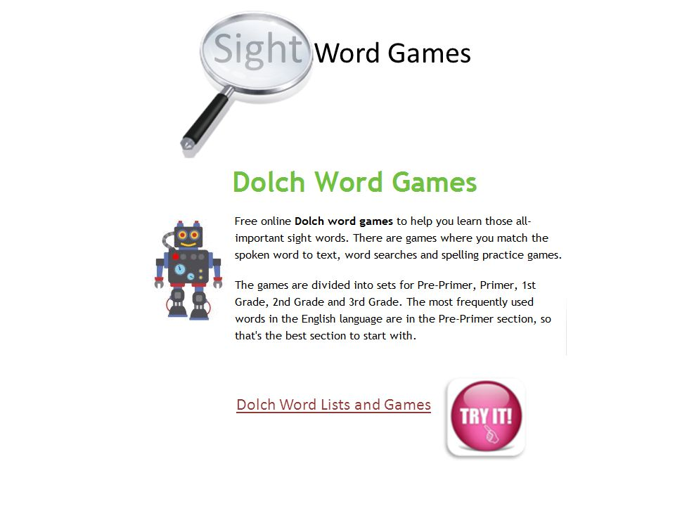 Sight Word Games Dolch Word Lists and Games