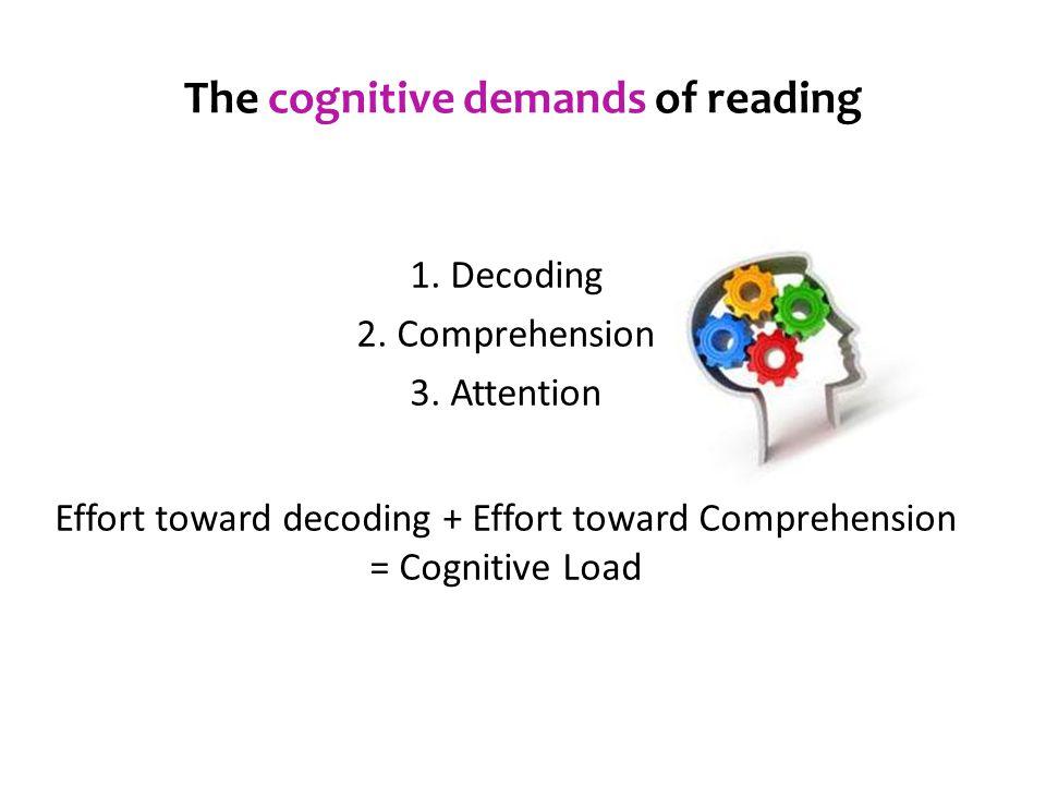 1. Decoding 2. Comprehension 3. Attention Effort toward decoding + Effort toward Comprehension = Cognitive Load The cognitive demands of reading