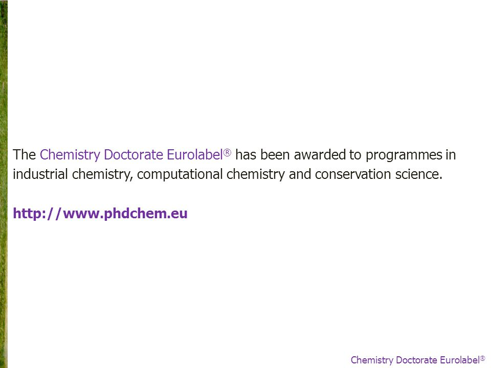 The Chemistry Doctorate Eurolabel ® has been awarded to programmes in industrial chemistry, computational chemistry and conservation science.