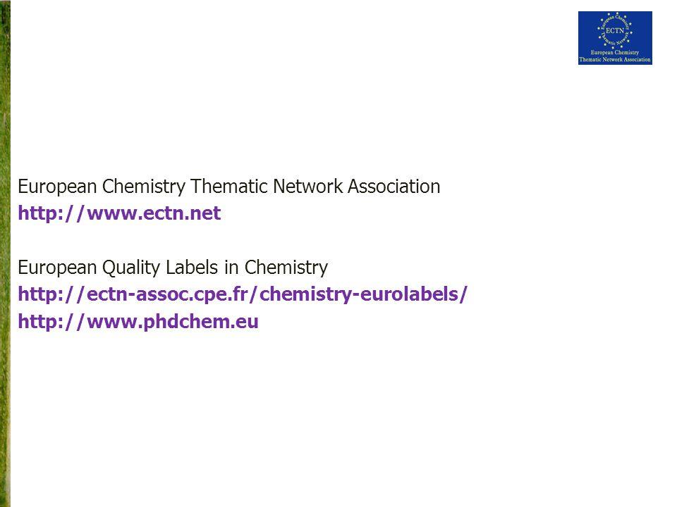 European Chemistry Thematic Network Association http://www.ectn.net European Quality Labels in Chemistry http://ectn-assoc.cpe.fr/chemistry-eurolabels/ http://www.phdchem.eu