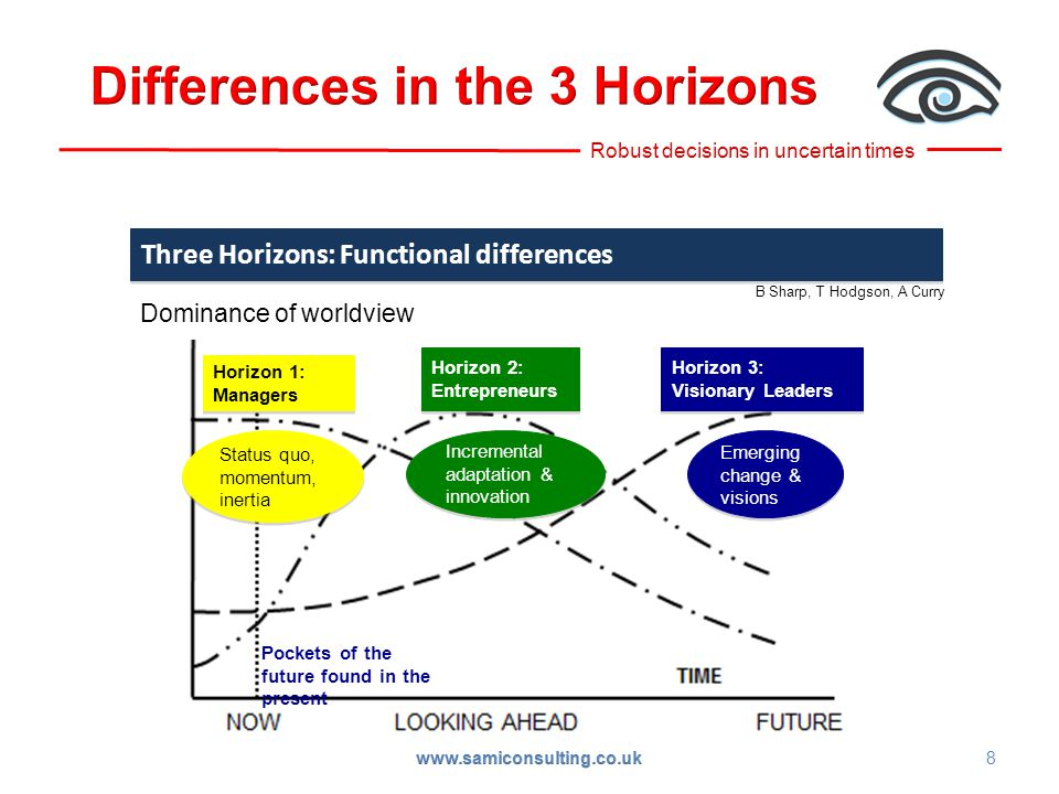 Three Horizons: Functional differences B Sharp, T Hodgson, A Curry Horizon 1: Managers Horizon 1: Managers Dominance of worldview Horizon 2: Entrepreneurs Horizon 2: Entrepreneurs Horizon 3: Visionary Leaders Horizon 3: Visionary Leaders Status quo, momentum, inertia Incremental adaptation & innovation Emerging change & visions Pockets of the future found in the present 8 www.samiconsulting.co.uk