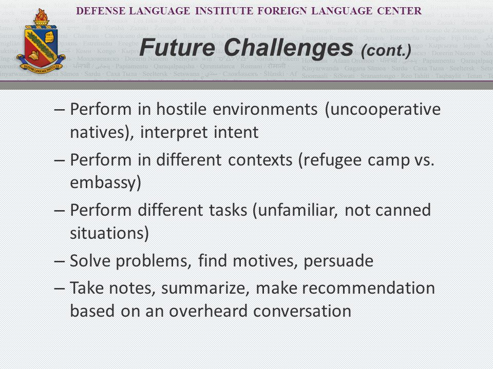DEFENSE LANGUAGE INSTITUTE FOREIGN LANGUAGE CENTER FEP/Enhanced FLO Activities (EFAs) meet the challenge: – Methodologically sound language learning strategies (teaching vs.