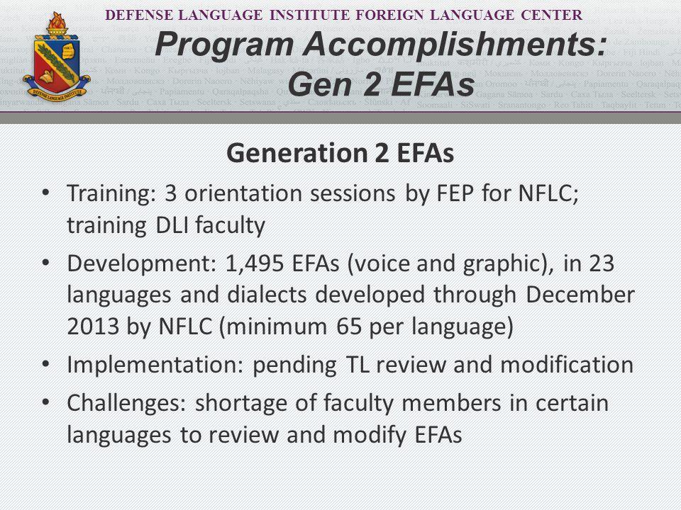 DEFENSE LANGUAGE INSTITUTE FOREIGN LANGUAGE CENTER Generation 2 EFAs Training: 3 orientation sessions by FEP for NFLC; training DLI faculty Developmen