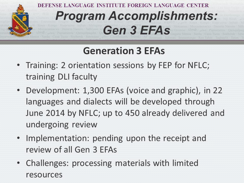 DEFENSE LANGUAGE INSTITUTE FOREIGN LANGUAGE CENTER Generation 3 EFAs Training: 2 orientation sessions by FEP for NFLC; training DLI faculty Developmen