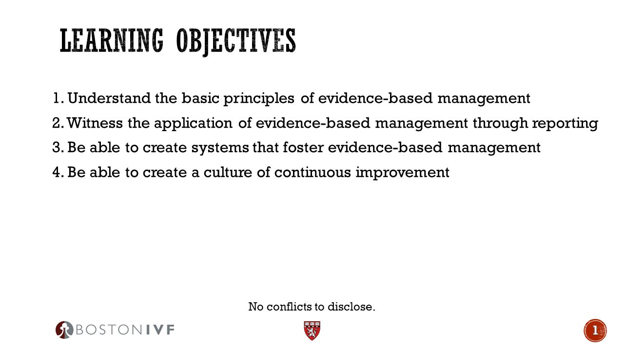 1. Understand the basic principles of evidence-based management 2. Witness the application of evidence-based management through reporting 3. Be able t