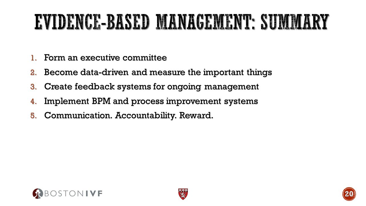 1. Form an executive committee 2. Become data-driven and measure the important things 3. Create feedback systems for ongoing management 4. Implement B