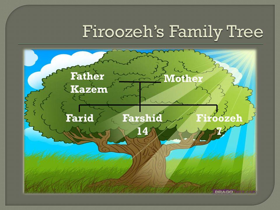 FaridFarshid 14 Firoozeh 7 Father Kazem Mother
