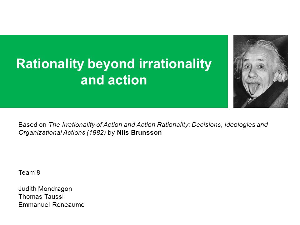 Rationality beyond irrationality and action Based on The Irrationality of Action and Action Rationality: Decisions, Ideologies and Organizational Acti