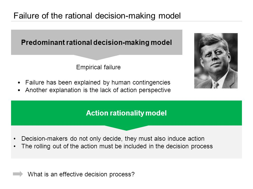 Decision-makers do not only decide, they must also induce action The rolling out of the action must be included in the decision process Failure of the rational decision-making model Predominant rational decision-making model Empirical failure Failure has been explained by human contingencies Another explanation is the lack of action perspective Action rationality model What is an effective decision process