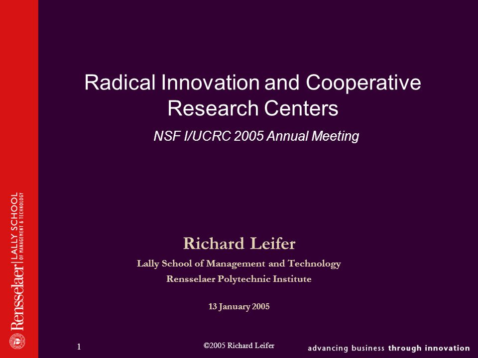 ©2005 Richard Leifer 2 What I Hope to Accomplish  The Lally Radical Innovation Research Program  Nature of Radical Innovation  Our Innovation Model  Radical Innovation in the Context of I/U Cooperative Research Centers and Implications for Center management