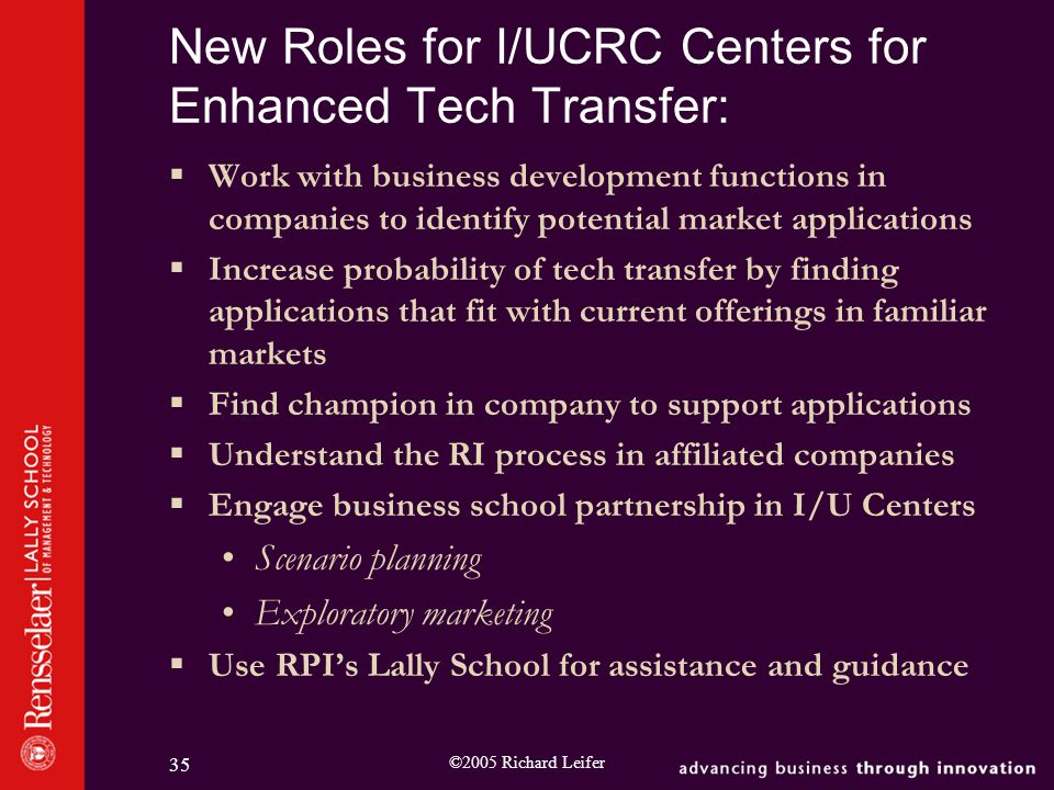 ©2005 Richard Leifer 35 New Roles for I/UCRC Centers for Enhanced Tech Transfer:  Work with business development functions in companies to identify potential market applications  Increase probability of tech transfer by finding applications that fit with current offerings in familiar markets  Find champion in company to support applications  Understand the RI process in affiliated companies  Engage business school partnership in I/U Centers Scenario planning Exploratory marketing  Use RPI's Lally School for assistance and guidance