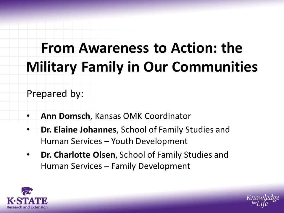 From Awareness to Action: the Military Family in Our Communities Prepared by: Ann Domsch, Kansas OMK Coordinator Dr.