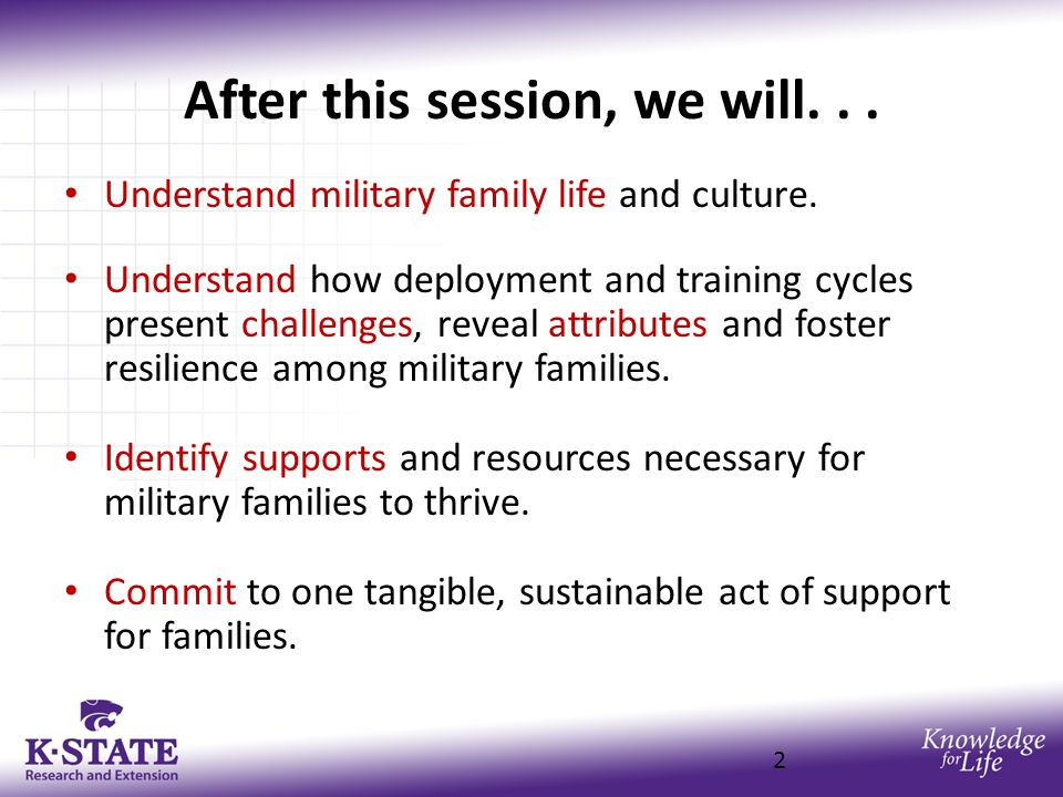 After this session, we will... Understand military family life and culture.