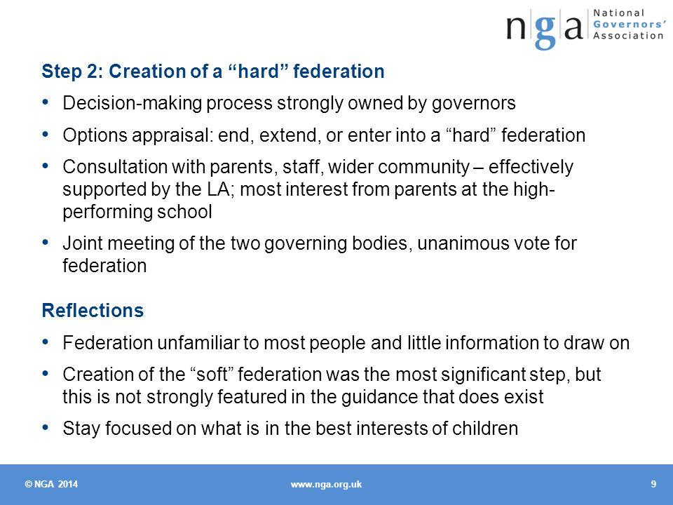 © NGA 2014 10 www.nga.org.uk What difference has federation made.