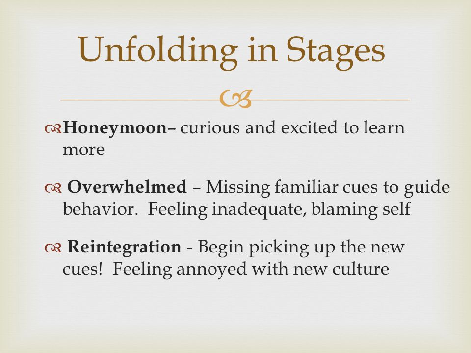   Honeymoon – curious and excited to learn more  Overwhelmed – Missing familiar cues to guide behavior.
