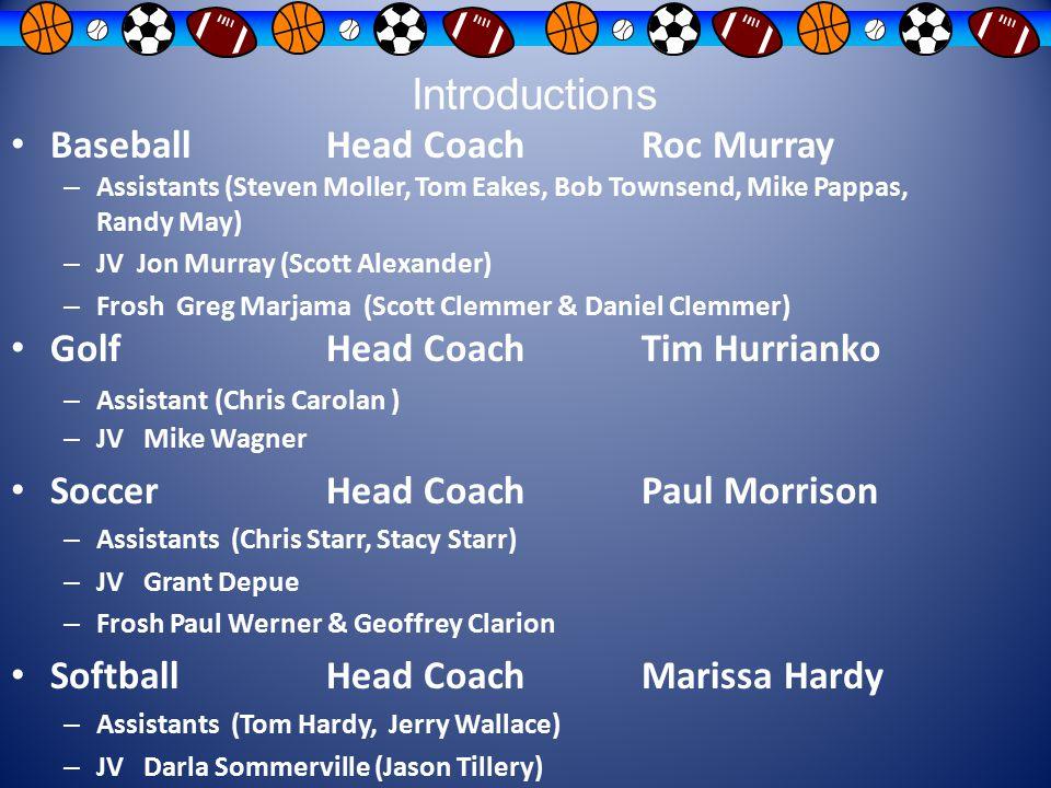 Introductions BaseballHead Coach Roc Murray – Assistants (Steven Moller, Tom Eakes, Bob Townsend, Mike Pappas, Randy May) – JV Jon Murray (Scott Alexa