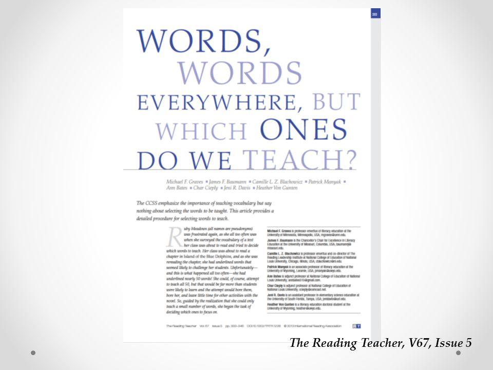The Reading Teacher, V67, Issue 5