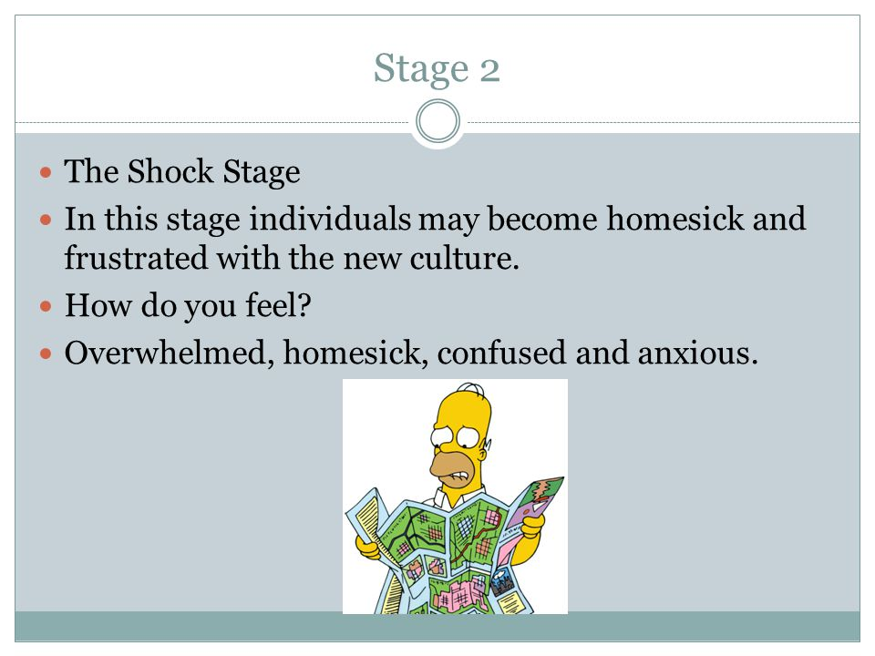 Stage 2 The Shock Stage In this stage individuals may become homesick and frustrated with the new culture.