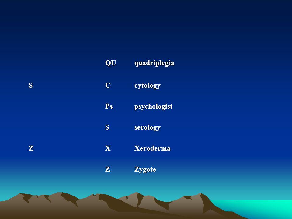 QUquadriplegia SCcytology Pspsychologist Sserology ZXXeroderma ZZygote