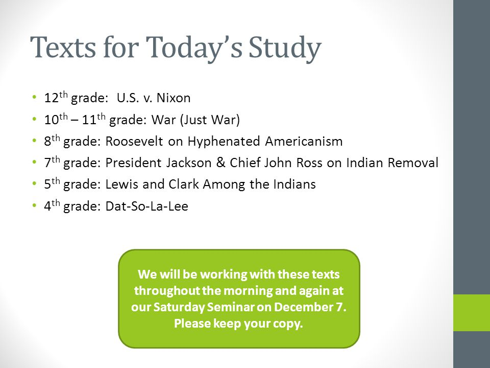 Texts for Today's Study 12 th grade: U.S. v.