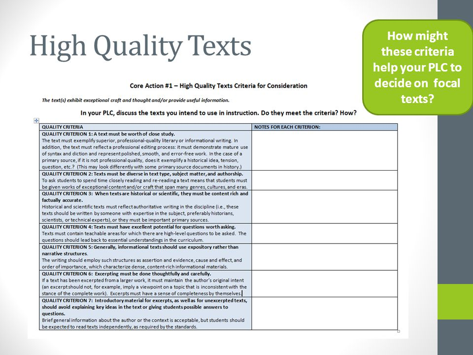 High Quality Texts How might these criteria help your PLC to decide on focal texts