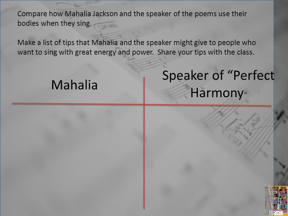 Compare how Mahalia Jackson and the speaker of the poems use their bodies when they sing.