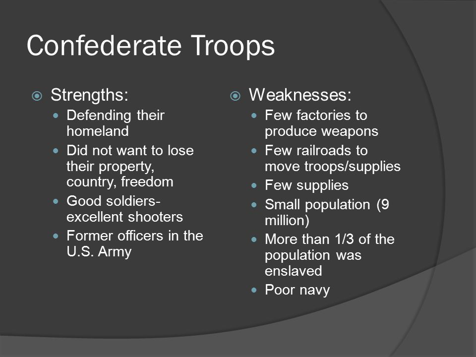 Confederate Troops  Strengths: Defending their homeland Did not want to lose their property, country, freedom Good soldiers- excellent shooters Forme