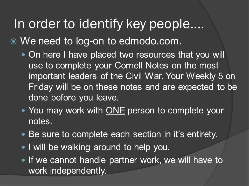 In order to identify key people….  We need to log-on to edmodo.com.